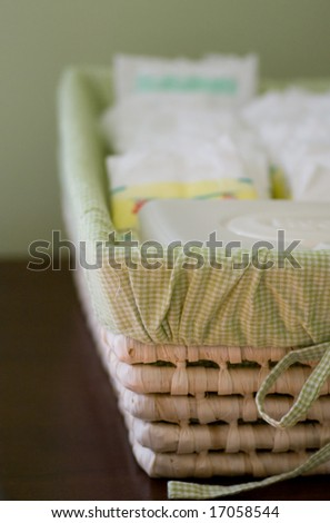 how a basket of diapers looks after a week with a newborn (and no sleep!)
