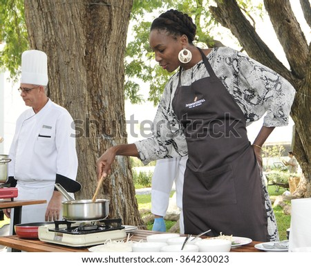 HUA HIN - DEC 31: Venus Williams of USA cooking thai food ahead World Tennis Thailand Championship 2016 at True Arena Hua Hin on December 30,2015 in Hua Hin, Thailand.