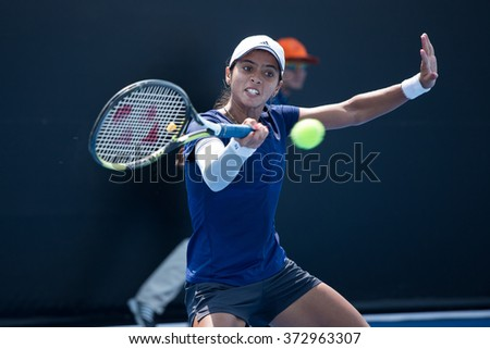 HUA HIN, THAILAND-FEBRUARY 4:Ankita Raina of India returns a ball during Day 2 of Fed Cup by BNP Paribas on February 4, 2016 at True Arena Hua Hin in Hua Hin, Thailand