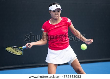 HUA HIN, THAILAND-FEBRUARY 3:Kurumi Nara of Japan returns a ball during Day 1 of Fed Cup by BNP Paribas on February 3, 2016 at True Arena Hua Hin in Hua Hin, Thailand