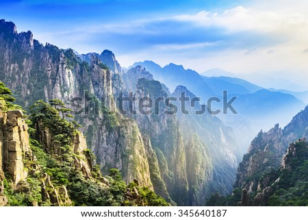 huangshan yellow mountains mountain range southern stock