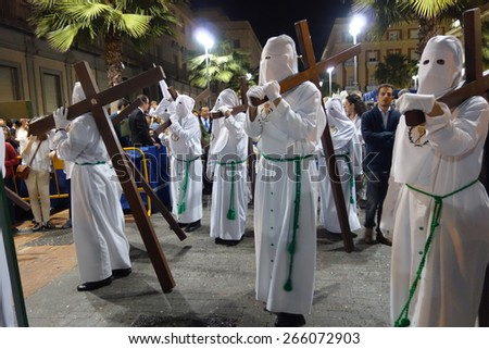 HUELVA, ANDALUSIA, SPAIN - APRIL 2: Holy Thursday, the celebration of Holy Week in procession along the streets (Carrera Oficial), in her station of penance on April 2, 2015 in Huelva Andalusia, Spain
