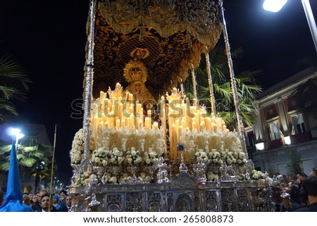 HUELVA, ANDALUSIA, SPAIN - APRIL 1: Holy Week, Virgin of the distresses in procession along the streets in her station of penance on April 1, 2015 in Huelva, Andalusia, Spain.