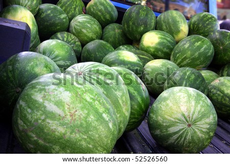 huge batch of watermelons at farmers market