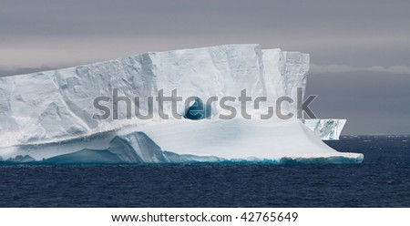 Huge Tabular Iceberg Floating in Bransfield Strait, Antarctic Peninsula, Antarctica