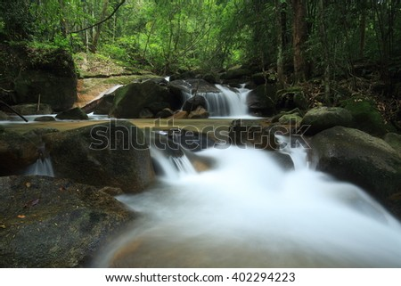 Hui Ka Ting Water Fall, Paradise waterfall in Tropical rain forest of Thailand , water fall in deep forest Chantaburi province Thailand .