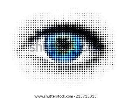 human eye with dots