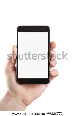 Human hand holding blank large mobile smart phone with clipping path for the screen