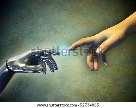 Human hand touching an android hand. Digital illustration.