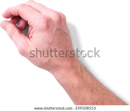 Human Hand Writing with an Invisible Object - Isolated