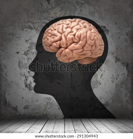 human head with brain , copyspace for text and wall background