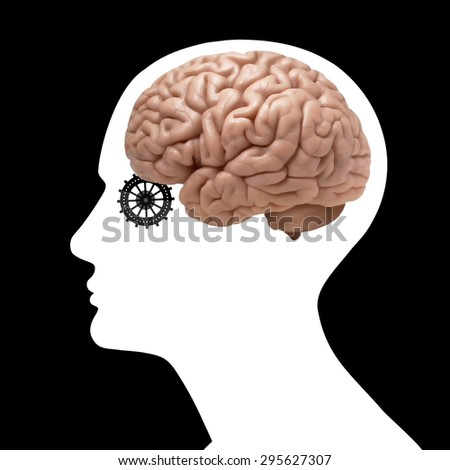 human head with brain,gears and black background