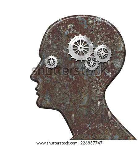 human head with gears and white background
