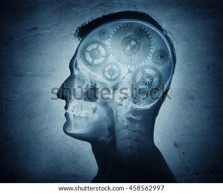 Human intelligence made of cogs and gears on the grunge texture.