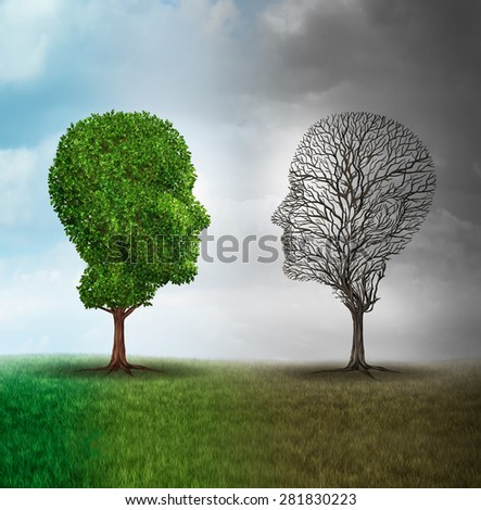 Human mood and emotion disorder concept as a tree shaped as two human faces with one full of leaves and the opposite side empty branches as a medical metaphor for psychological contrast in feelings.