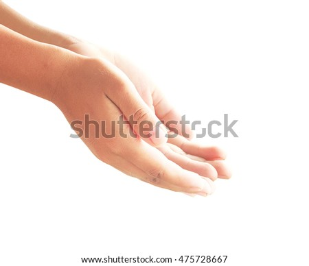 Human open two empty hands with palms up. Ask Beg Help God Soul Praying Dua Hajj Giving Bless Quran Aura Heal Life Gift Eid Poor Islam Thank Glow Prayer Macca Soul Bokeh Light Mecca Side View concept