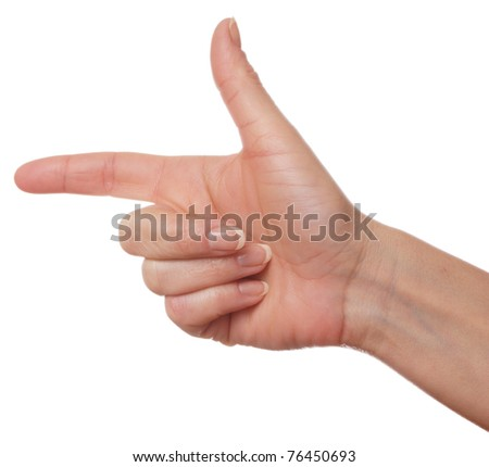 Human palm gesture isolated over white background