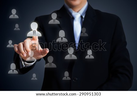 Human resources officer choose employee standing out of the crowd, Select team leader concept