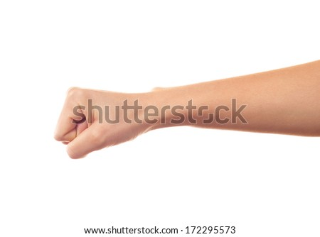 Human's hand keeping something on white background