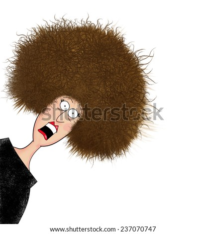 Humor illustration of a frazzled woman having a bad hair day