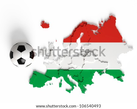 Hungarian flag on European map with national borders, isolated on white background