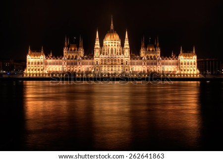 Hungarian Parliament Building at night in Budapest