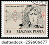 HUNGARY - CIRCA 1977: a postage stamp printed in Hungary showing an image of Isaac Newton by Janos Kass, circa 1977. - stock photo