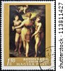 HUNGARY - CIRCA 1968: A stamp printed in Hungary shows The Three Graces, by Batista Naldini, circa 1968 - stock photo