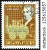 HUNGARY CIRCA 1981: A stamp printed in the Hungary shows Streame locomotive by G.Stephenson, circa 1981 - stock photo
