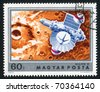 HUNGARY - CIRCA 1974: stamp printed by Hungary, shows satellite, circa 1974 - stock photo