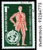 HUNGARY - CIRCA 1973: Vascular System and WHO Emblem, circa 1973 - stock photo