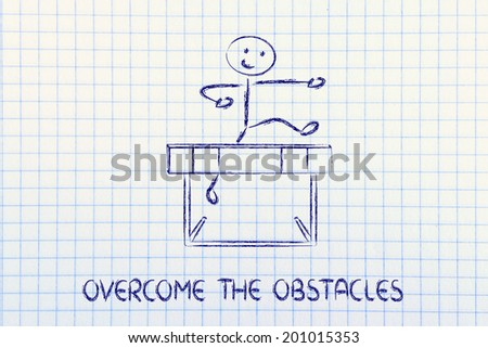 hurdle design, metaphor of overcoming the obstacles in life and winning the challenge