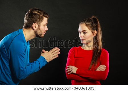 stock photo conflicted couple relationship problem boyfriend trying convince