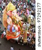 HYDERABAD,AP,INDIA-SEPTEMBER 11:Ganesha idols are being transported for immersion in water bodies on 11th day after Ganesh Chathurthi September 11,2011 in Hyderabad,India.This is an annual event. - stock photo