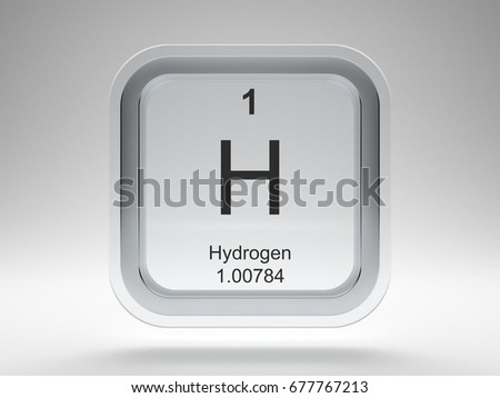 Hydrogen chemical element symbol periodic table stock illustration hydrogen symbol on modern glass and metal rounded square icon 3d render urtaz Images