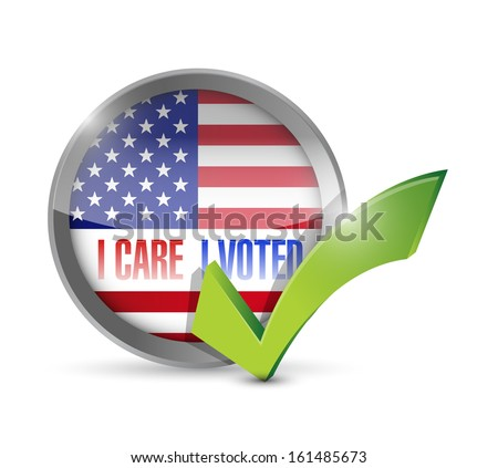 I care I voted seal button illustration design over a white background