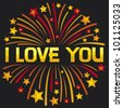 I love you firework - stock vector