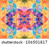 "I title this series of abstract, multi-hued, kaleidoscopic images in varying color schemes ""Butterfly Blossoms."" - stock photo"