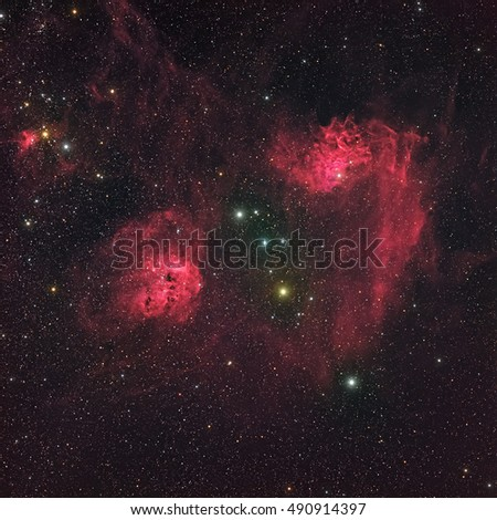 IC 405 IC 410 and IC 417 in the constellation Auriga