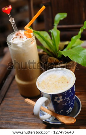 Ice Blended Coffee and Hot Coffee
