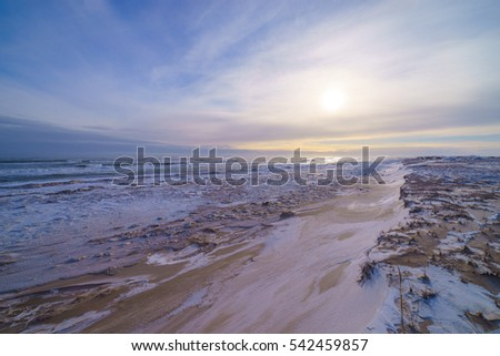 Ice covered coast of the Okhotsk sea, Sakhalin island