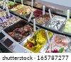 Ice cream of many varieties in Italy - stock photo