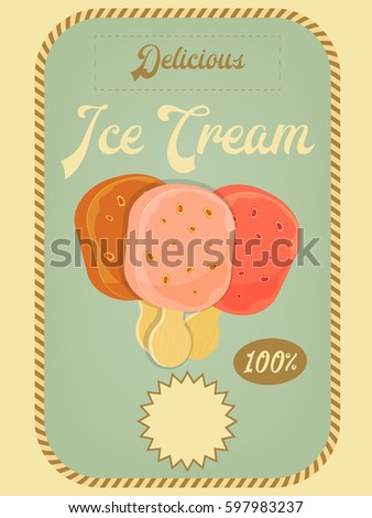 Mountain climbing placard in retro style camping and hiking elements - Ice Cream Dessert Vintage Menu Cover Stock Vector