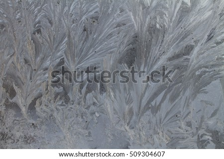 Ice crystals on frozen window pane