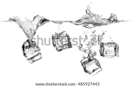 Ice cubes splashing into water, isolated on a white background