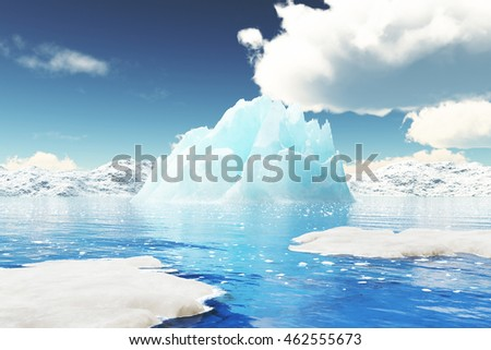 Iceberg in Greenland. You can only see the top of the iceberg, whilst the remaining 7/8 is left to your imagination.- 3D Rendering