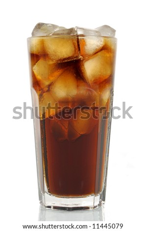 Iced cola in tall glass isolated vertical