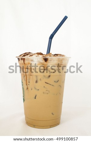 iced fresh roasted coffee cappuccino is popular drinks on background white