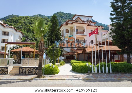 Icmeler, Turkey - April 14, 2016: Melita bar and hotel in Icmeler. Icmeler is popular Turkish holiday resort situated eight kilometers from Marmaris, Turkey
