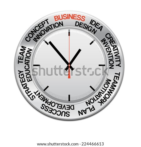 icon clock , red arrow specifies in a word business and other words, for Your successful business design or presentation